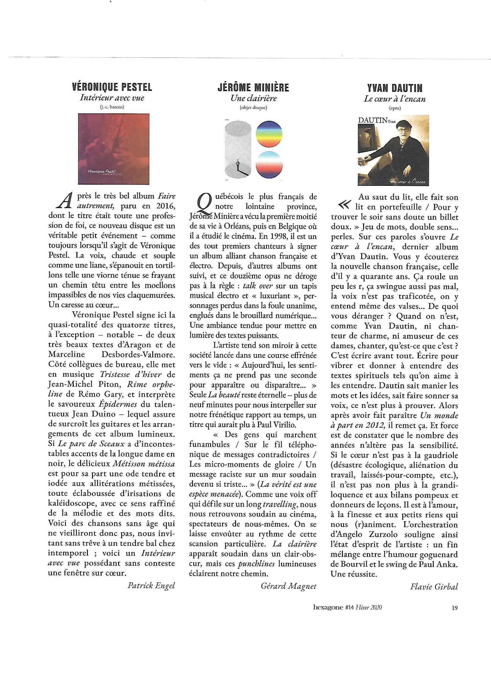 Article de Patrick ENGEL, Hexagone Hiver 2020